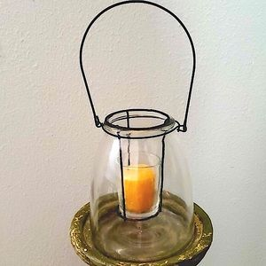 Hanging Glass Lantern with Floating Candle